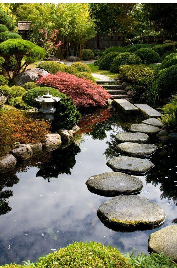 Zen garden path over a pond, Portland Japanese Garden, Portland