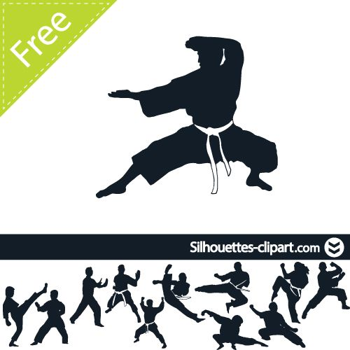 Karate Vector Silhouette Silhouettes Pinterest Best