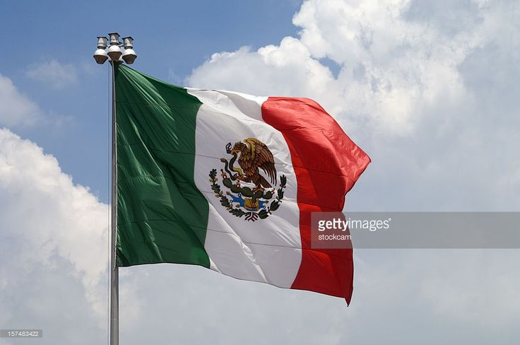 Stock Photo : Flag of Mexico with blue sky