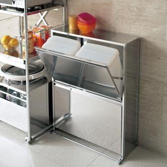 オールステンレス製のミラー仕上げが美しいダストボックス。お洒落なデザインでキッチン、リビングルームにピッタリなごみ箱。。新生活にもおすすめのアイテムです。