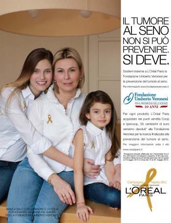 Campagna Nastro Oro: Fondazione Umberto Veronesi, L'Oréal Paris e Coop insieme per l'impegno contro il tumore al seno.