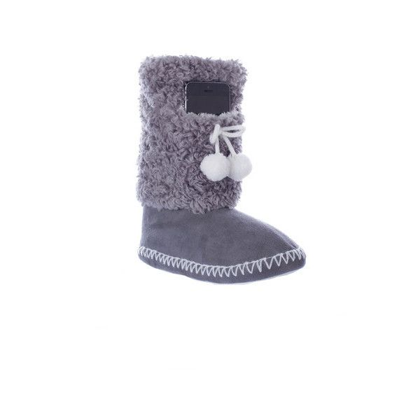 Womens Minx NY Navajo-Indoor/Outdoor Bootie w Phone Pocket ($25) ❤ liked on Polyvore featuring intimates, hosiery, socks, grey, socks & hosiery, grey socks and gray socks