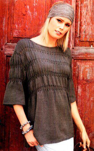 Схема вязания спицами. Пуловер с узором из защипов