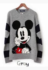 Mickey Mouse Printed Round Neck Sweater Grey...omg want