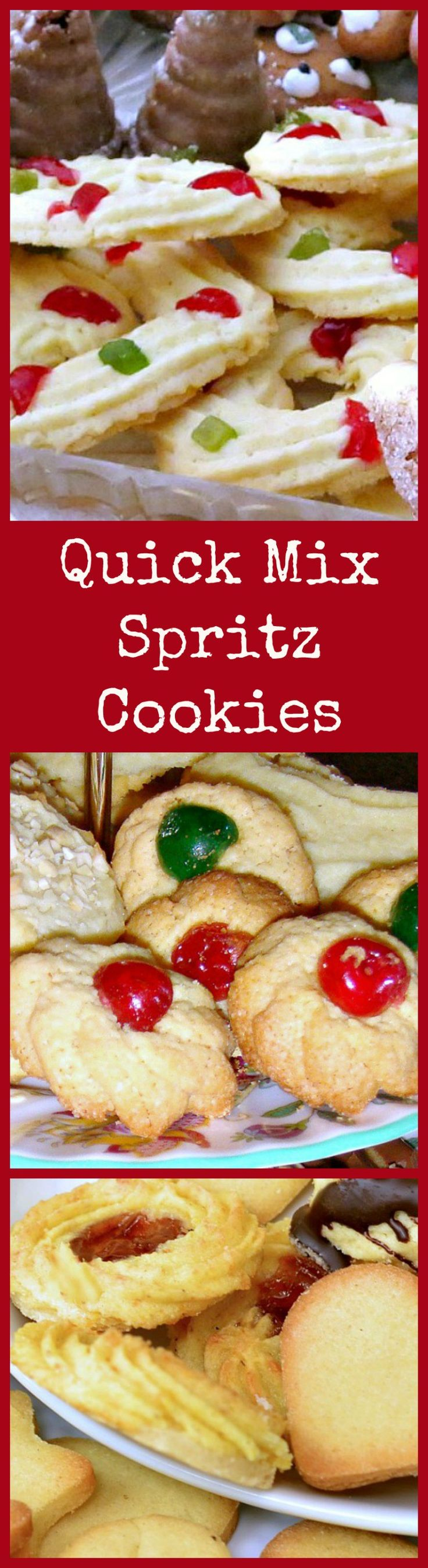Quick Mix Spritz Cookies. These little cookies have a wonderful vanilla flavor and melt in your mouth. Easy to make! Get creative and make different shapes ready for Christmas!   Lovefoodies.com