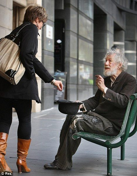 "Sir Ian McKellen (aka Magneto and Gandalf) is mistaken for a tramp while on break outside rehearsals of ""Waiting For Godot"""