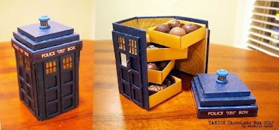 Michelle Quinn's TARDIS chocolate box.: Chocolate Boxes, Idea, Craft, Gift, Chocolates, Tardis Chocolate, Doctor Who, Dr. Who