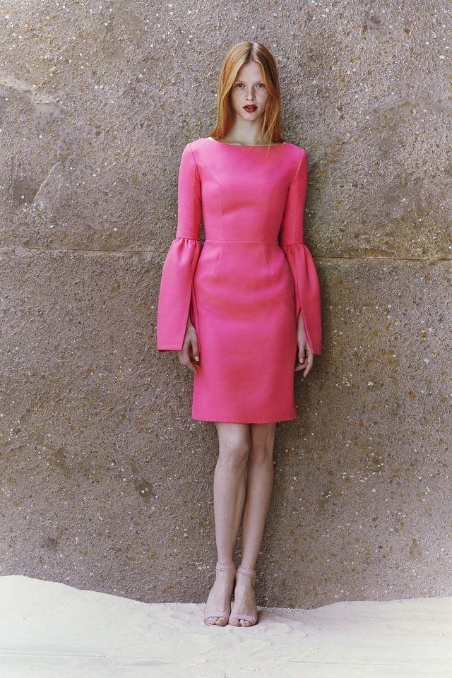 Wool Suiting Bell Sleeve Sheath Dress   HONOR