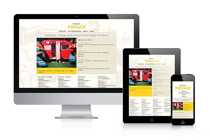 The layout of the Brisbane Vintage website adapts to the user's viewing device. Website by Two Tone Design
