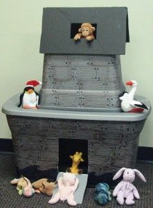 Noah's ark using a Rubbermaid tubs and pairs of Beanie Babies