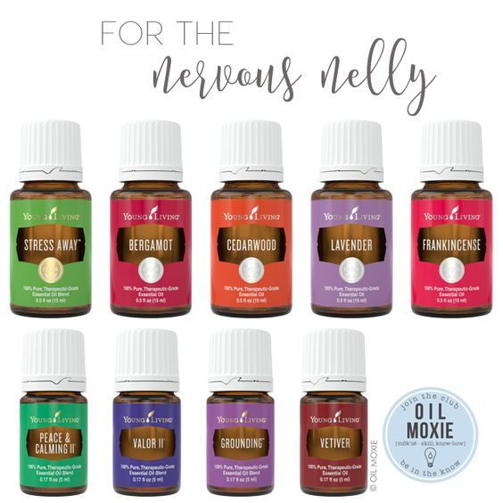 For the Nervous Nelly | Essential Oil Uses - Essential oils for the Nervous Nelly! These Young Living essential oils have some great calming and grounding properties - Stress Away, Bergamot, Cedarwood, Lavender, Frankincense, Peace & Calming II, Valor II, Grounding, and Vetiver. Try using a drop of one of these on your wrists, the back of your neck, or the bottoms of your feet, and calm that Nervous Nelly down!! :)