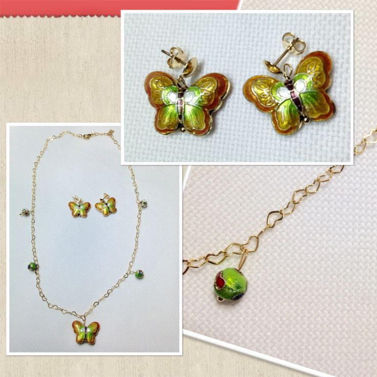 Jewerly, Cloisonne, Butterfly