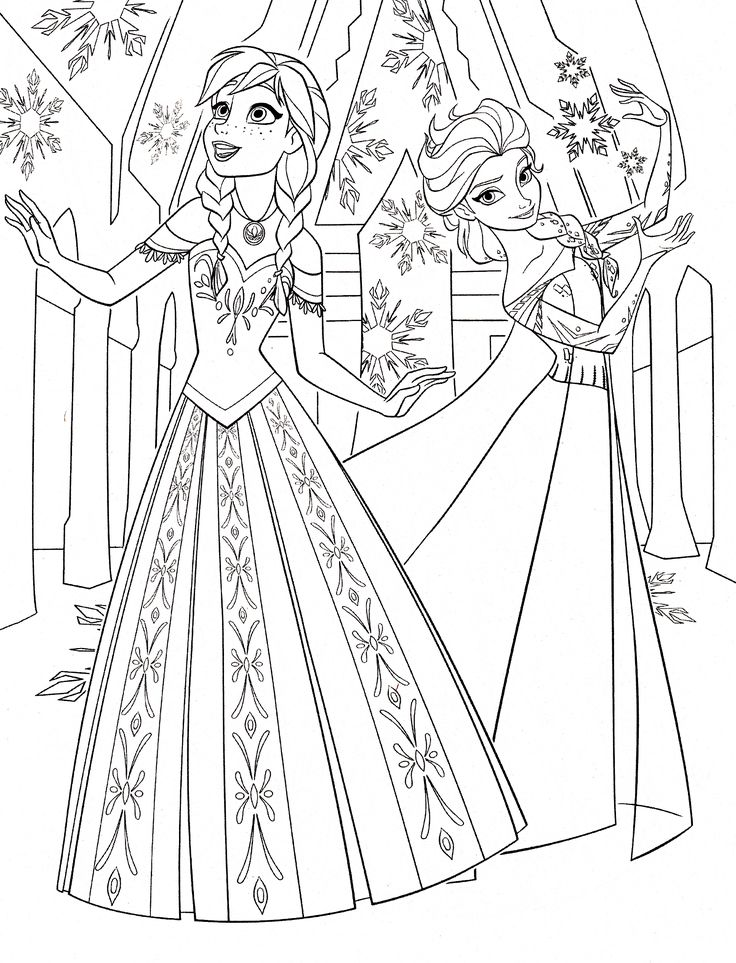 color pages of anna & elsa frozen walt disney princess characters