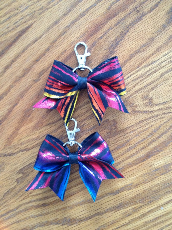 Colorful Stripe Bow Keychain. $7.00, via Etsy.