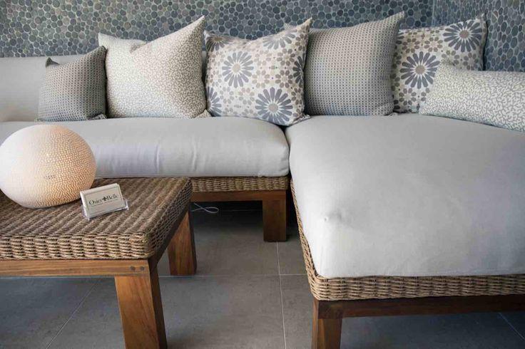 Outdoor - furniture - lounge - setting - recycled teak - wicker - Sunbrella - fabric - Mokum - Fabric - Scatter cushion