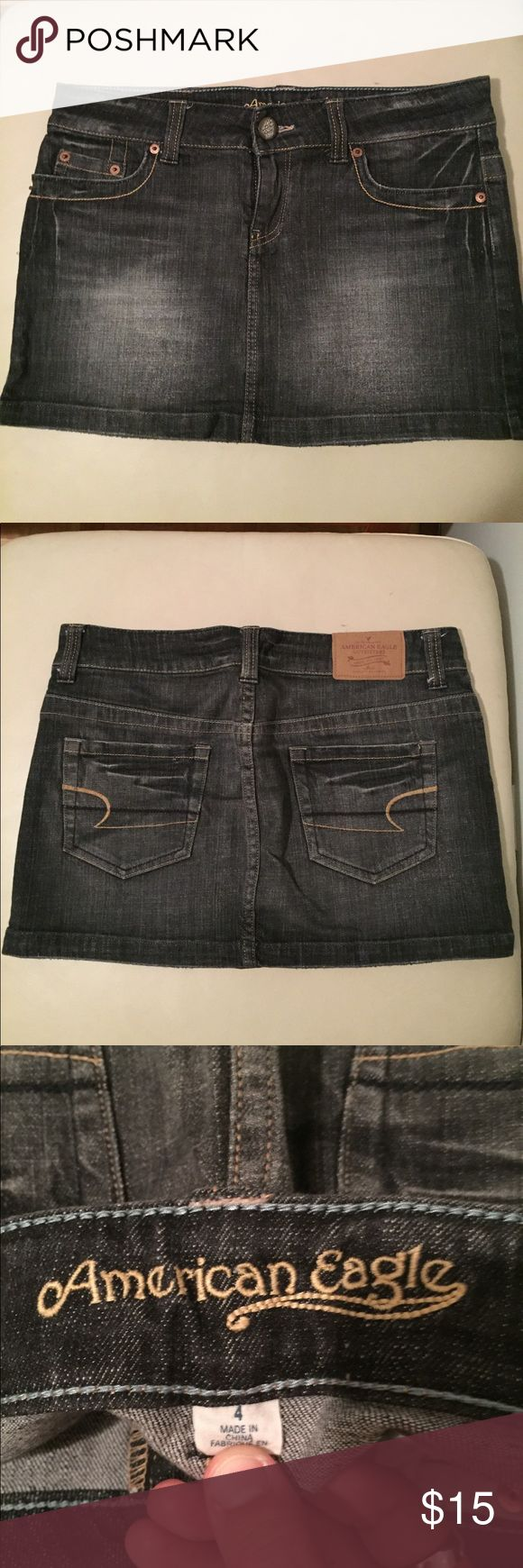 American Eagle Jean Mini Skirt American Eagle black jean mini skirt. Looks like new. Soft denim fabric. American Eagle Outfitters Skirts Mini