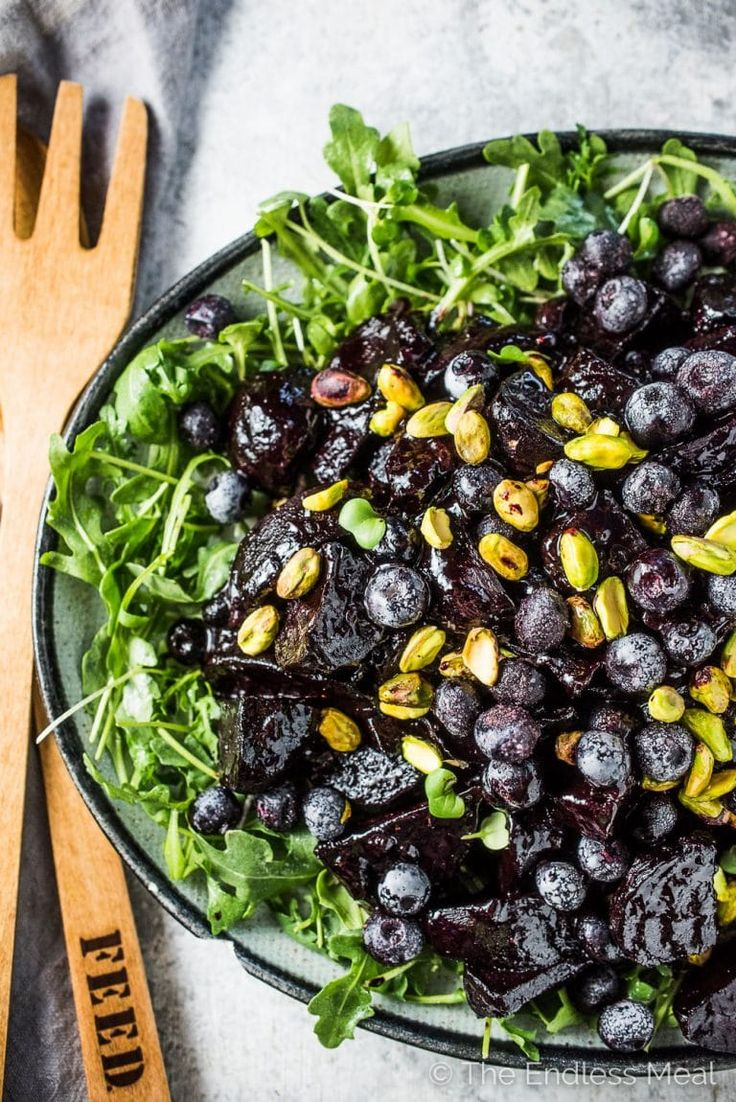 These insanely delicious Balsamic Blueberry Glazed Beets are a must for your holiday table. Or heck, all winter long. The beets are roasted then coated in a sticky glaze made with frozen blueberries and balsamic vinegar. This healthy side dish recipe is also gluten-free + paleo + Whole30 compliant! | theendlessmeal.com