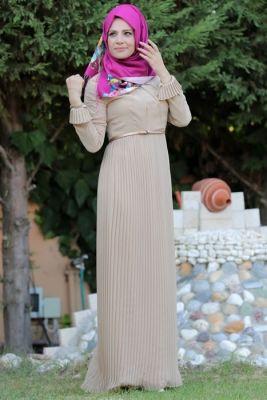 Merve Arslan Camel Piliseli Tesettür Elbise