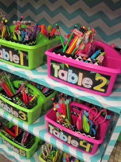 Fun and colorful way to organize classroom supplies