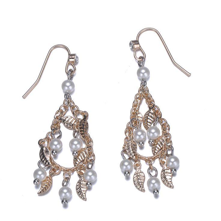 Cosmic Love: Pearl & Gold Drop Earrings By Amrita Sen