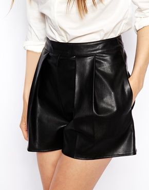 {ASOS Leather Look Shorts in Black - under $75}