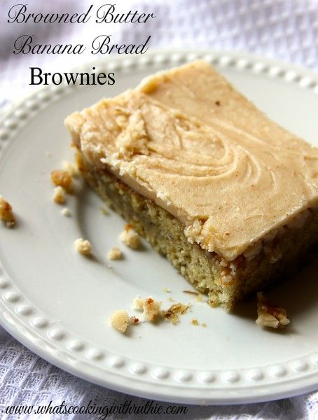 Browned Butter Banana Bread Brownies!!  Its a tongue twister... the BEST thing youll ever taste! by whatscookingwithruthie.com #recipes # brownies