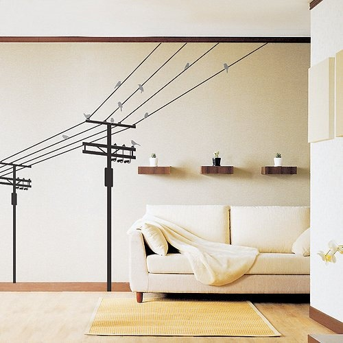 Removable Vinyl Wall Sticker Mural Decal Art - Electric Pole and Birds