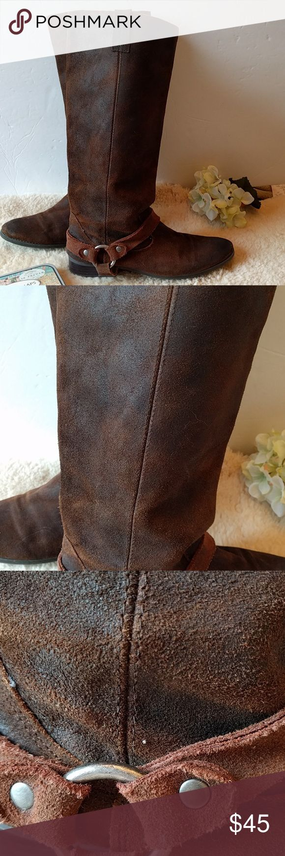 Dolce Vita Distressed raw leather riding boots These are intentionally distressed, but also I did spill something on them see photo. The cool thing about these boots is that as they patina with age, it blends right in. These have been worn and are in good used condition Dolce Vita Shoes Combat & Moto Boots