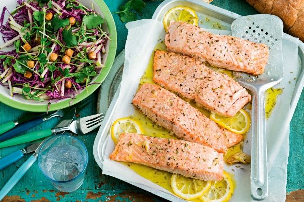 Roasted fennel salmon with apple and cabbage salad main image