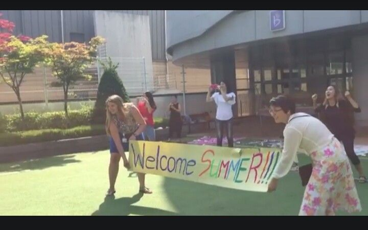 Welcome Summer banner - our first graders had so much fun in this symbolic run crossing over to summer