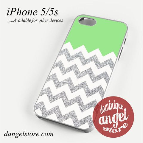 Green Silver Glitter Chevron Phone case for iPhone 4/4s/5/5c/5s/6/6 plus