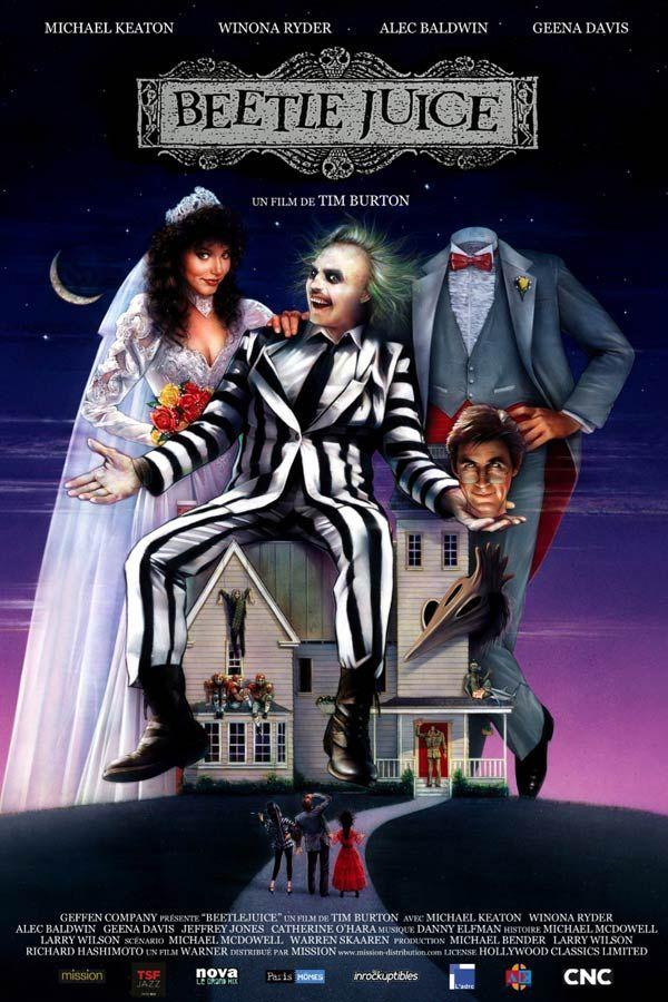 Beetlejuice est un film de Tim Burton avec Michael Keaton, Alec Baldwin. Synopsis : Pour avoir voulu sauver un chien, Adam et Barbara Maitland passent tout de go dans l'autre monde. Peu après, occupants invisibles de leur antique deme