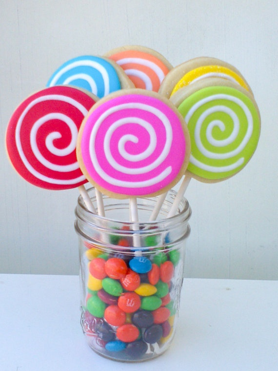 Colorful Swirl Cookie Pops 1 dozen by acookiejar on Etsy, $27.95