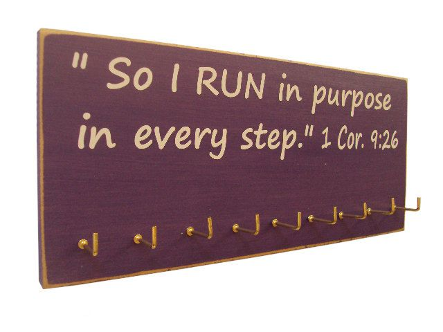 inspirational sports quotes / Running Medals Rack. $28.00, via Etsy.