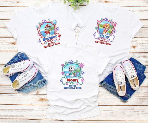 Paw Patrol Birthday Shirts Family Custom 34567