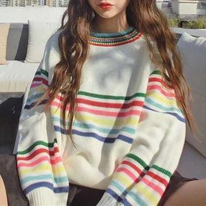 RAINBOW STRIPES WHITE KNIT VOLUME SWEATER! Aesthetic Apparel, Tumblr Clothes, So…