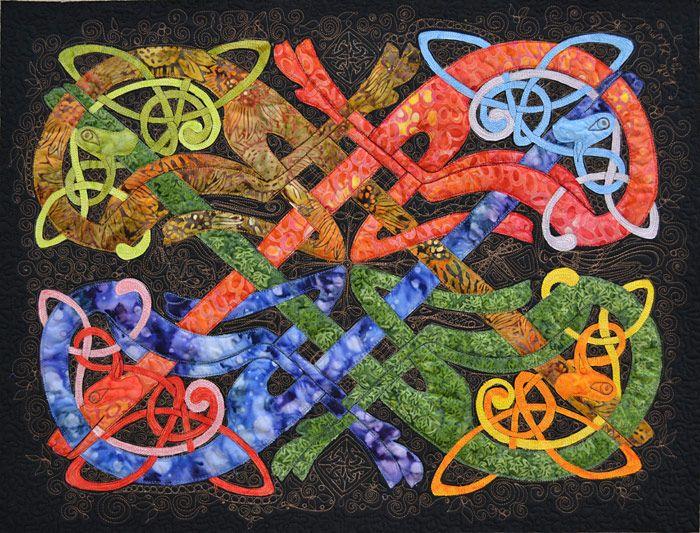 "Celtic Geometry, 25 x 29"", by Kate Themel, Artist - Gallery - art quilt"