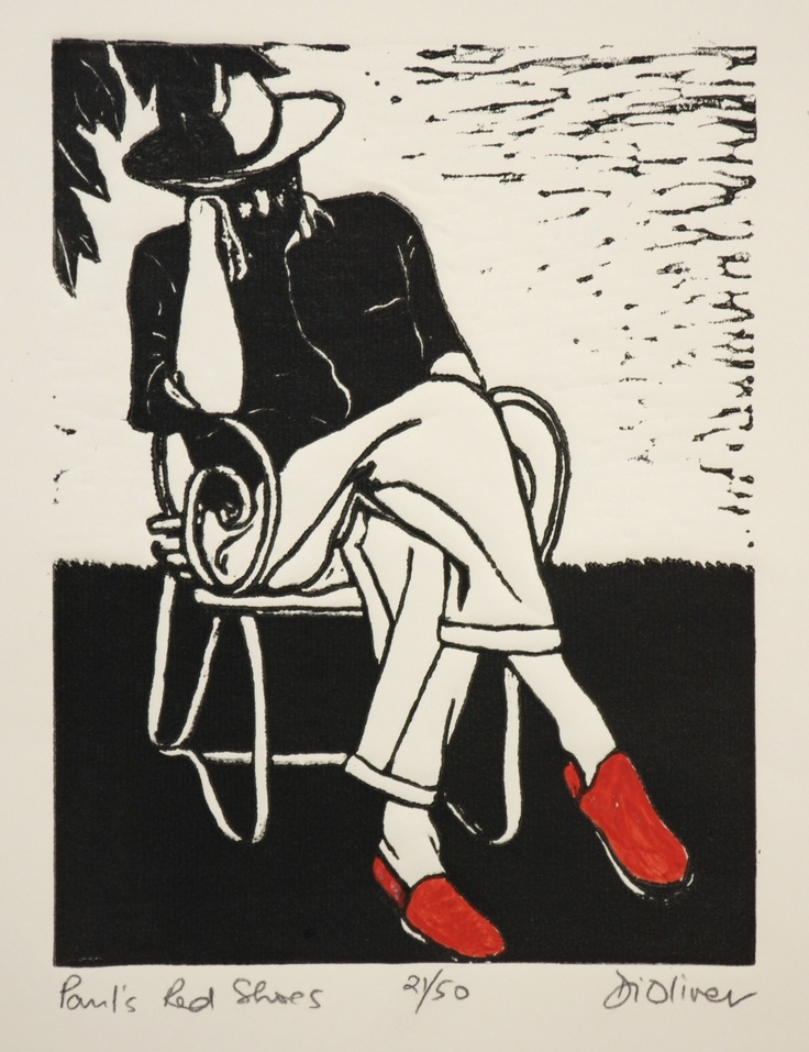 """""""Paul's Red Shoes"""" linocut by Di Oliver. www.dioliver.co.uk Tags: Linocut, Cut, Print, Linoleum, Lino, Carving, Block, Woodcut, Helen Elstone, Human, Man, Sleeping, Sitting, Chair."""