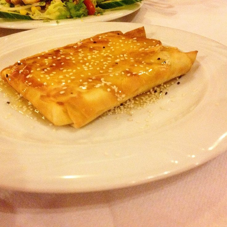 #Feta cheese cooked in filo pastry then topped with #honey and sesame seeds.