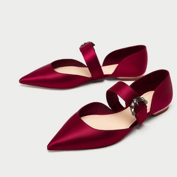 Women's Wedding Shoes Winter Fashion Coral Red Satin Mary Jane Shoes Pointy Toe Flats Ballet Shoes For Party New Year Holiday Party Outfit Christmas Outfit Women Winter Fashion Prom Shoes Spring Outfit Women, School, Date, Wedding, Anniversary, Hanging Out, Honeymoon | FSJ