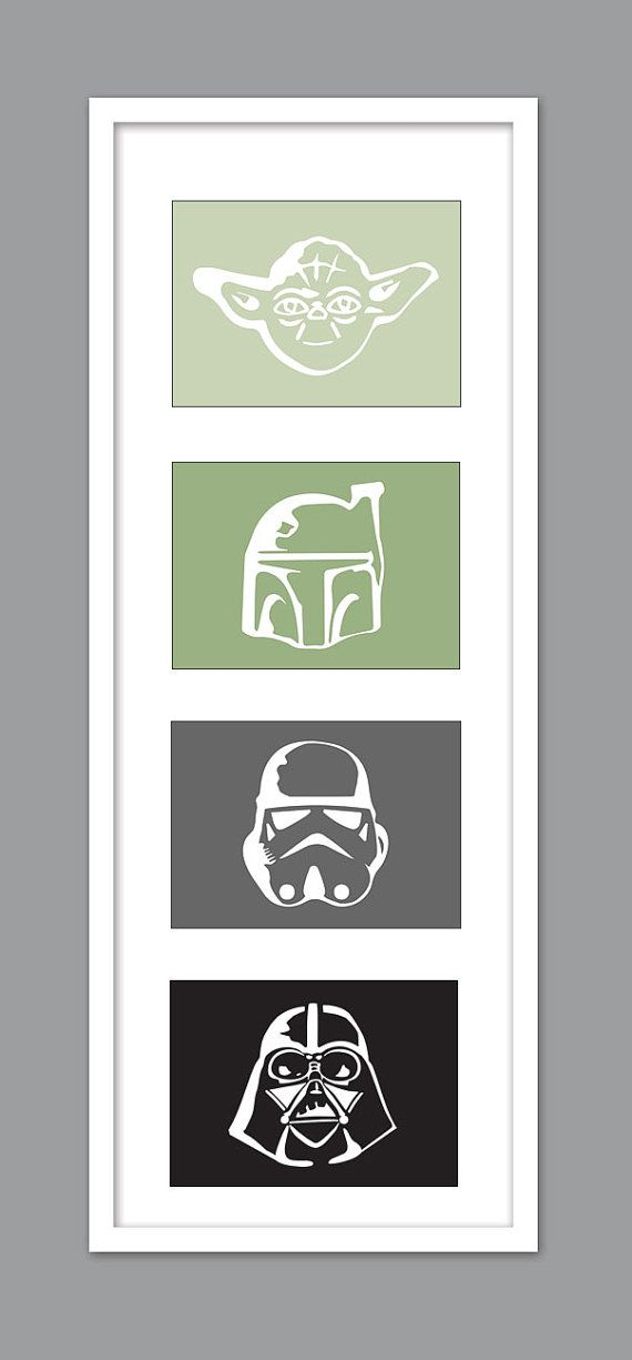 4 Star Wars Character Silhouettes for Nursery/Boys Nursery/Darth…