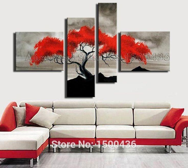 Otoño pintadas a mano hoja roja pintura al óleo del árbol en la lona 4 unidades abstracta moderna arte de la pared decoración grupo de fotos(China (Mainland))