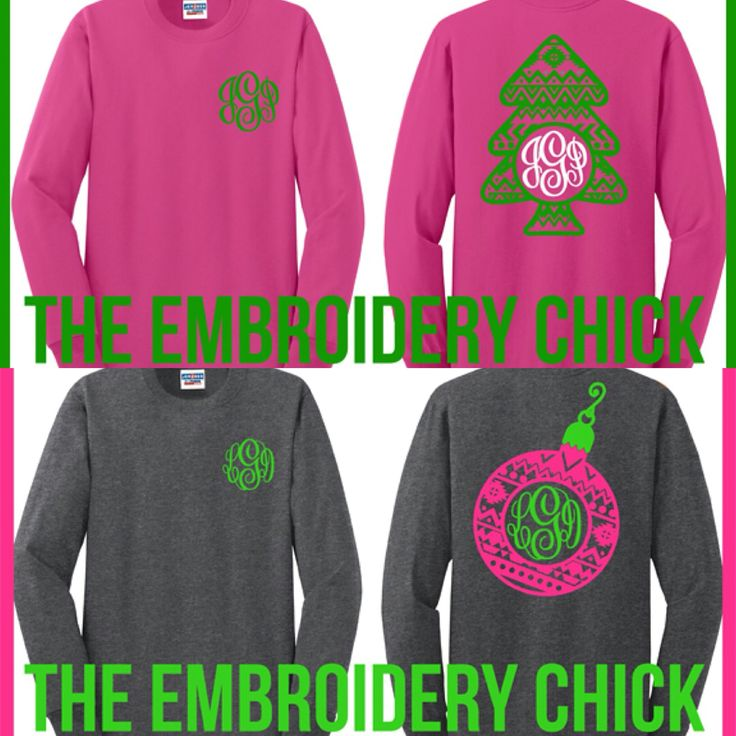 """Only 68 more sleeps until Christmas! Flash Sale this week only!  Several Aztec designs available on the """"What's New"""" tab of our website.  Shirt provided has large design on back with monogram on the front left chest, or you can select just the large design on front of shirt. Only $22 shipped.! #TheEmbroideryChick #monogram #aztec #christmas #tree #preppy"""