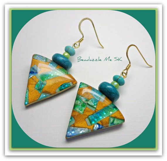 Turquiose Ice/Teal & Gold  Triangle Earrings polymer clay Jewelry