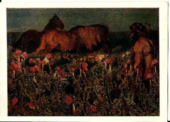 Vintage Russian Art Postcard Night. Cowboy and horses. Art work M. Vrubel by LucyMarket, $3.50