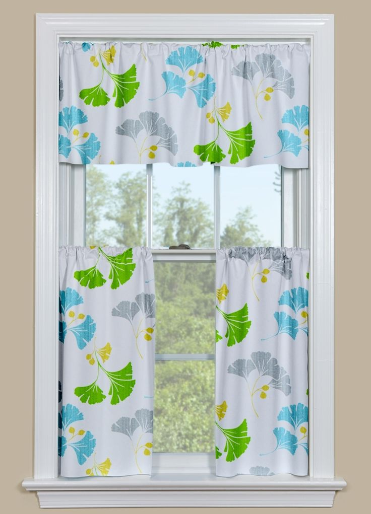Modern Design Kitchen Curtain Panels With Gingko Leaves In Blue, Green And  Grey. Cute CurtainsContemporary CurtainsDiscount ...