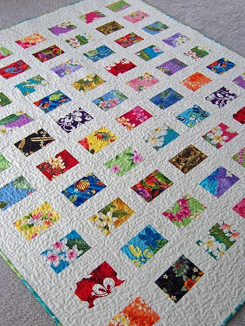"""""""Postcards from Hawaii"""" Quilt by dorkyquilts, via Flickr  and here http://www.lisaboyer.blogspot.com.au/2009/02/postcards-from-hawaiiand-giveaway.html"""