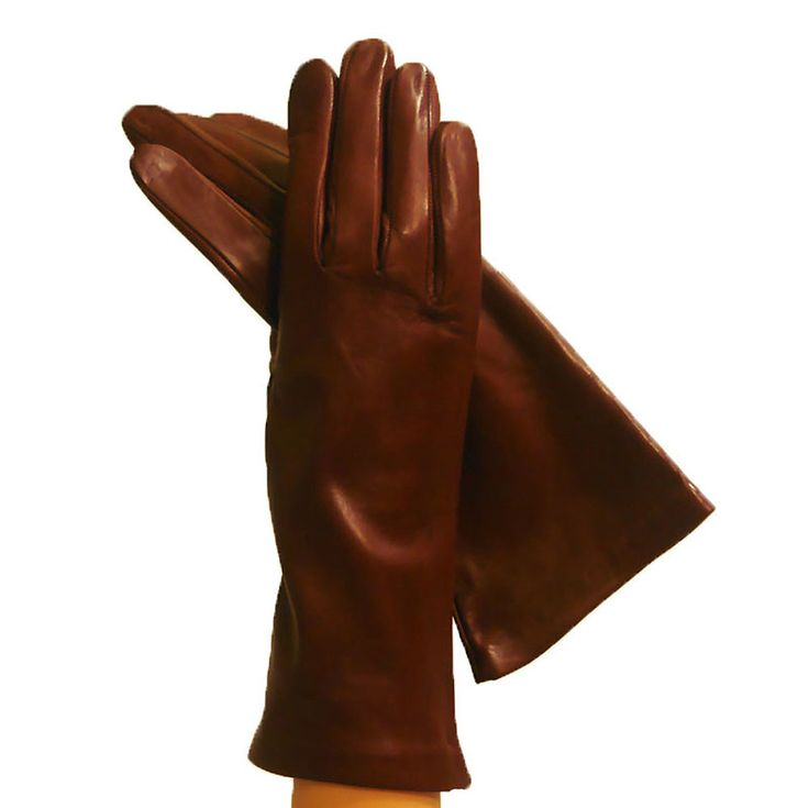 Brown Luxurious Cashmere Lined Womens Italian Leather Gloves, 4 bt.
