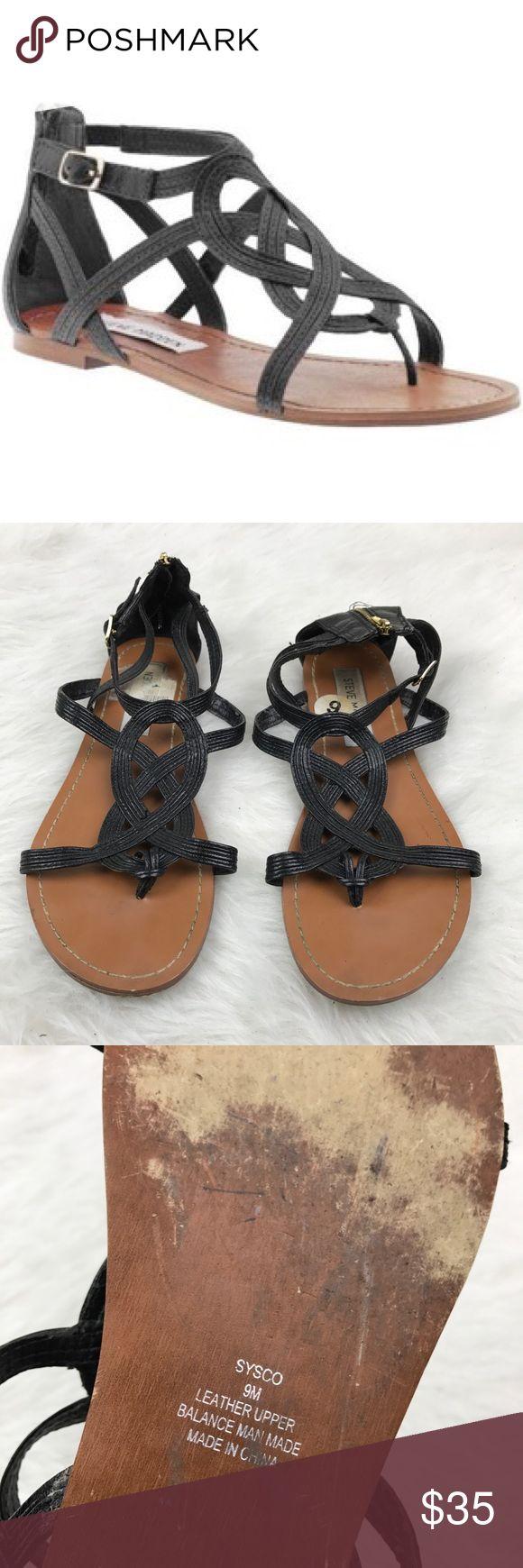 Steve Madden Sysco Sandal Leather upper SZ 9 Black leather Steve Madden Shoes Sandals