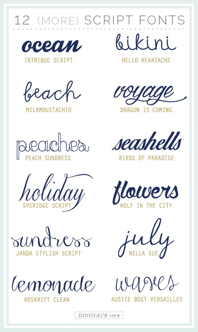 twelve more script fonts (also free!) | dinosaurstew.com. seashells is so gorg